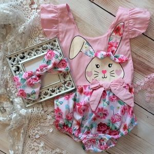Other - Boutique Baby Girl Easter Romper & Headband